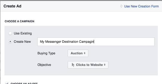 Facebook Messenger Destination Campagin