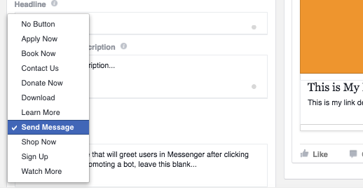 Facebook Messenger Destination CTA
