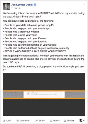 Link Sharing Custom Audience Facebook Ad