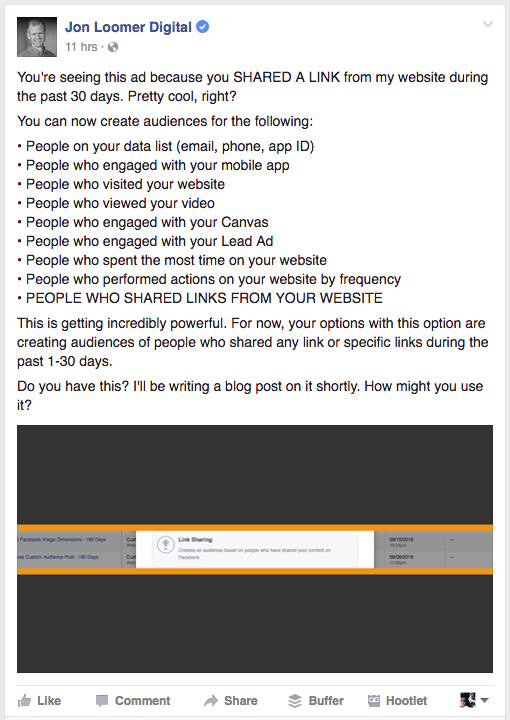 Link Sharing Custom Audience Facebook Ad