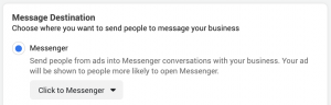 Facebook Messenger Destination Ad