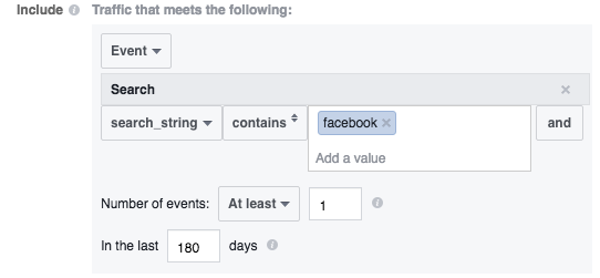 Facebook Website Custom Audience Advanced Mode