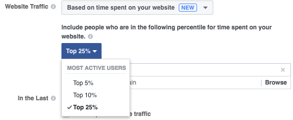 Facebook Website Custom Audience Time on Site