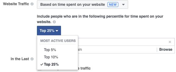 Facebook Website Custom Audience Time on Site