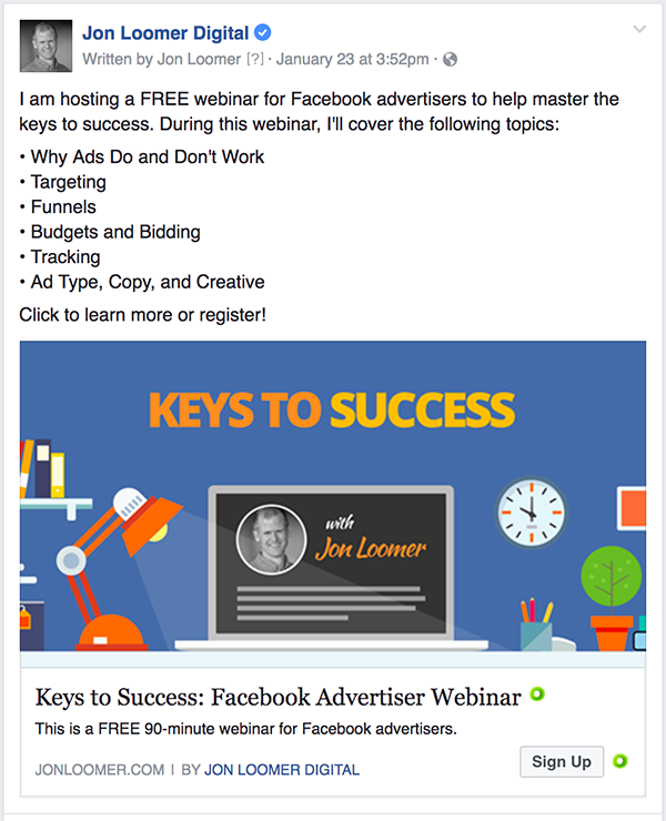 Facebook Ads Webinar Ad