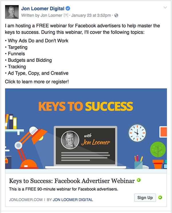 Facebook Ads Webinar Ad
