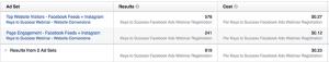 Facebook Website Conversions Results