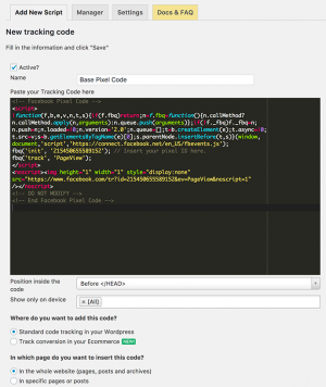 Tracking Code Manager