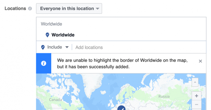 Evergreen Facebook Campaign Targeting Location