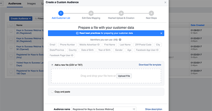 Facebook data Custom Audience Registration