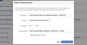 Facebook Lead Form Custom Audience Registered