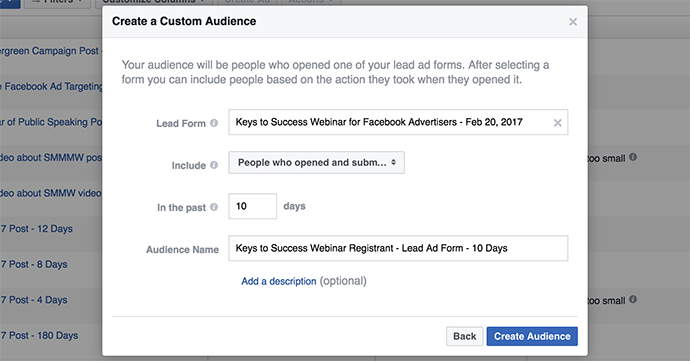 Facebook Lead Form Custom Audience Registered