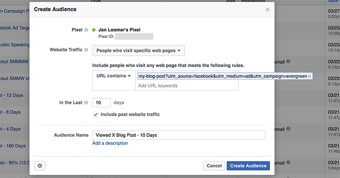 Facebook Website Custom Audience Blog Post UTM