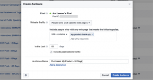 Facebook Website Custom Audience Purchase