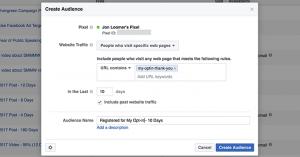 Facebook Website Custom Audience Registration
