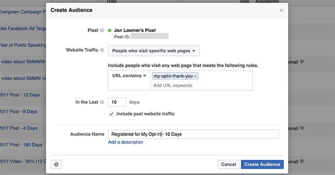 Facebook Website Custom Audience Registration