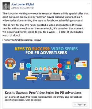 Keys to Success Video Series Facebook Ad