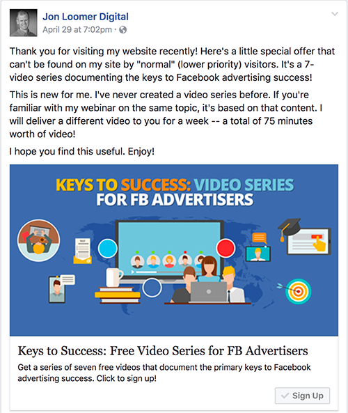 Keys to Success Video Series Facebook Ad