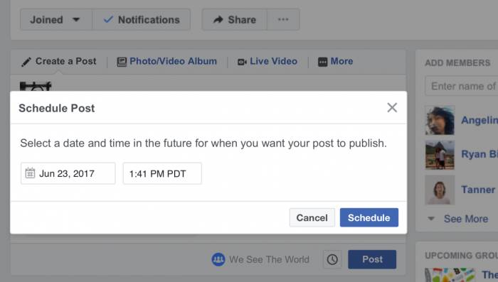 Facebook Group Scheduled Posts (TechCrunch)