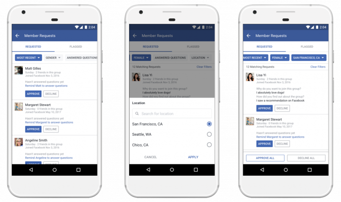 Facebook Membership Request Filtering (TechCrunch)