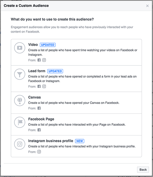 Facebook Engagement Custom Audiences