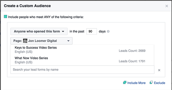 Facebook Lead Form Custom Audience