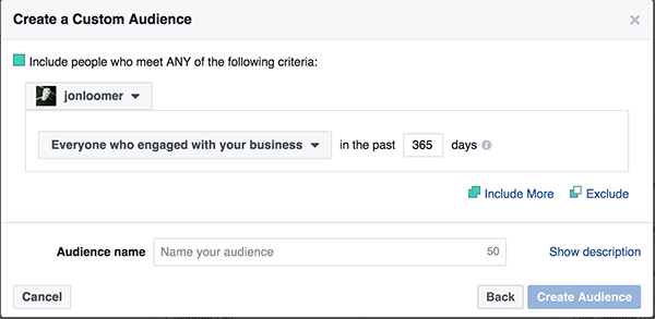 Instagram Business Profile Custom Audience
