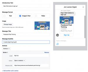 Facebook Messenger Destination