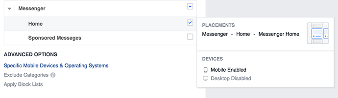 Facebook Messenger Home Placement