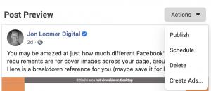 Edit Facebook Page Post Link