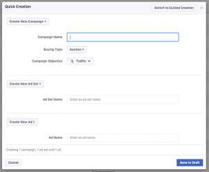 Facebook Ads Manager Quick Creation