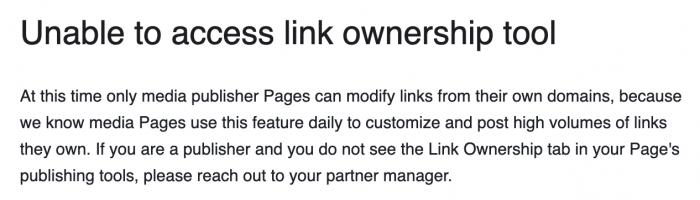 Facebook Link Ownership Tool
