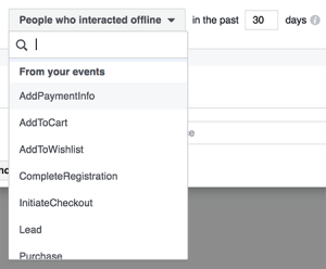 Facebook Offline Events Custom Audiences