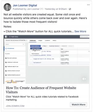Facebook Video CTA Button