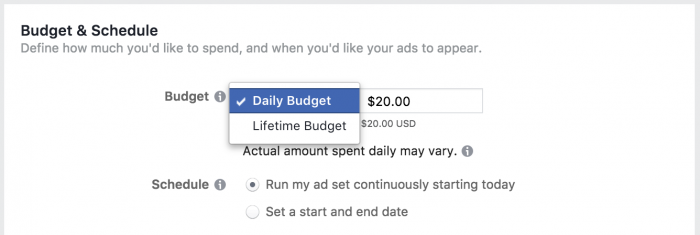 Facebook Ad Set Budget