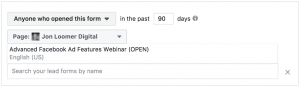 Facebook Lead Form Custom Audiences