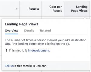Facebook Ads Metrics In Development