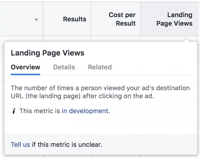 Facebook Ads Metrics In Development