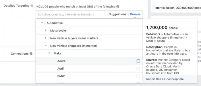 Facebook Partner Categories