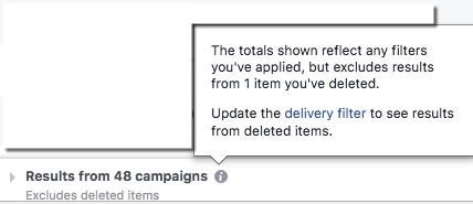 Facebook Ads Manager - Deleted Items Notification Message