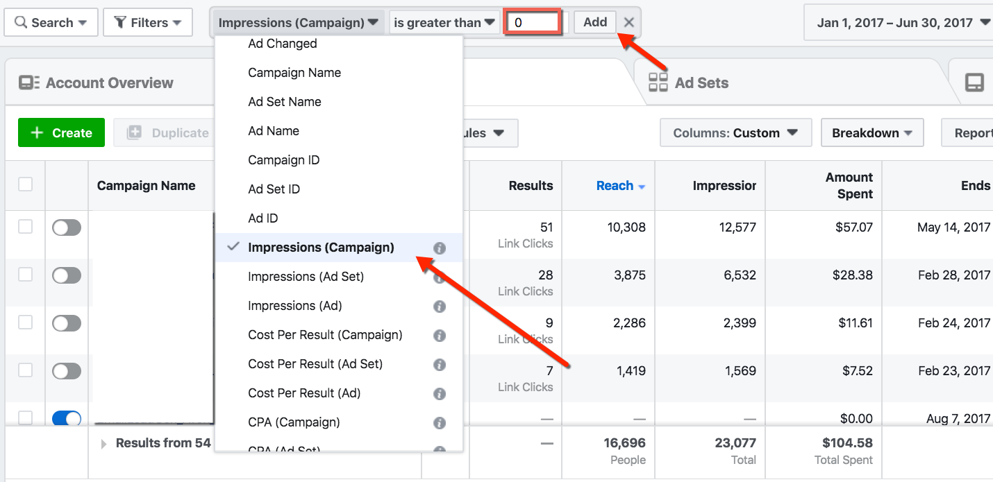 Facebook Paid Reach - Filtered Ads Manager Impressions View