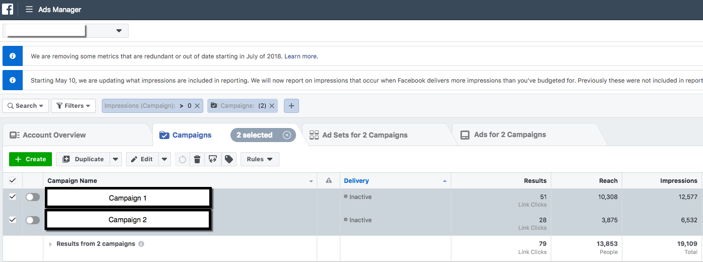 Facebook Ads Manager - 2 Campaigns Narrowed View