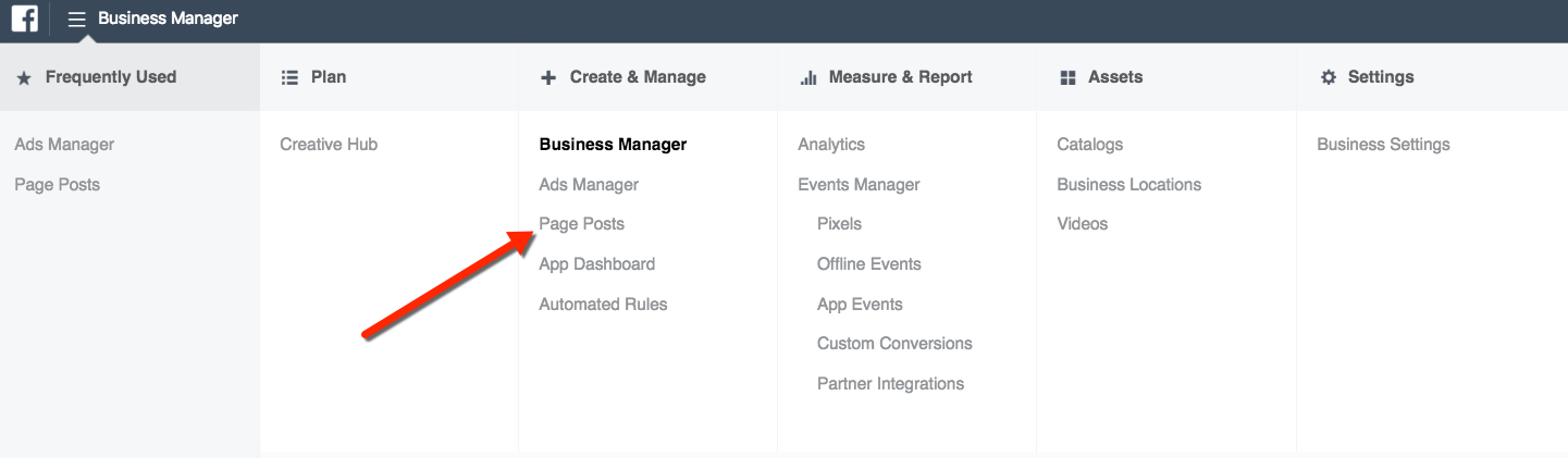 Page Posts Tool - Business Manager