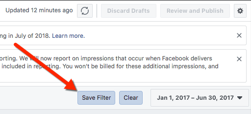 Ads Manager - Save Filter