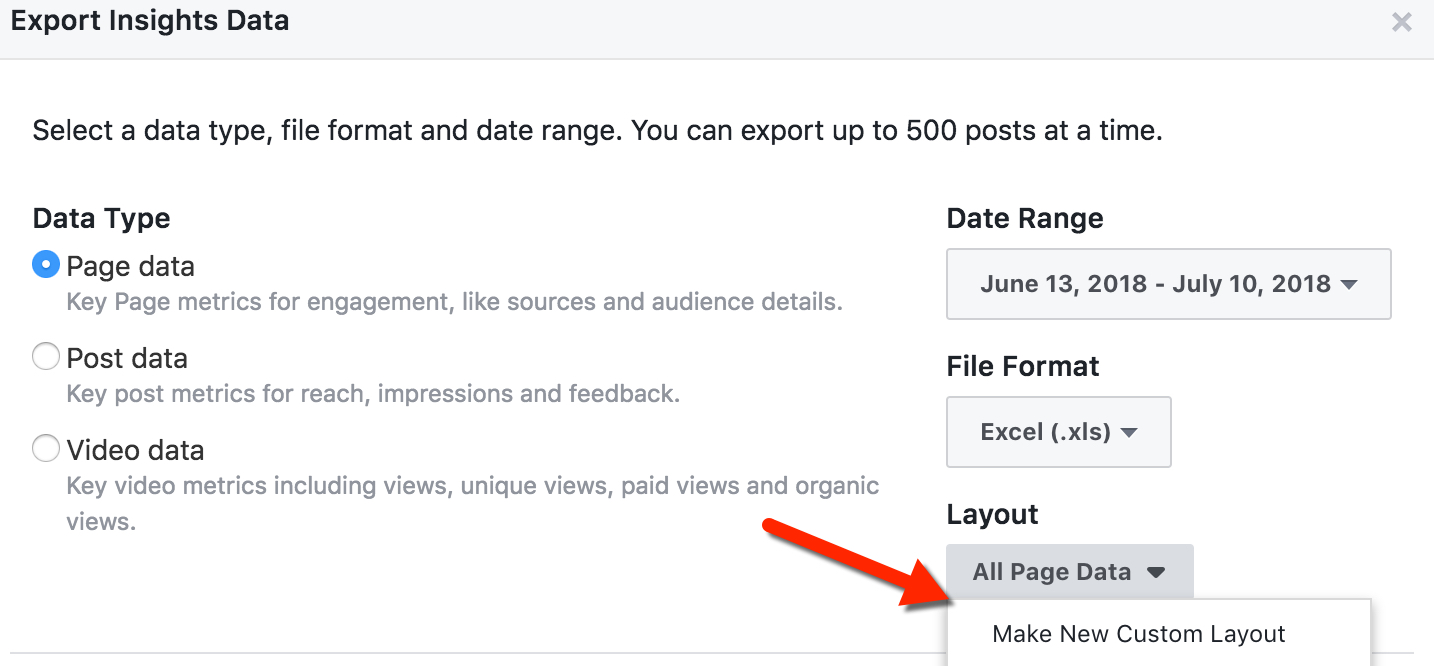 Facebook Page-Level Export Data Selection