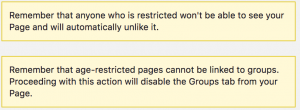 Facebook Restricted Audience - Age Notification