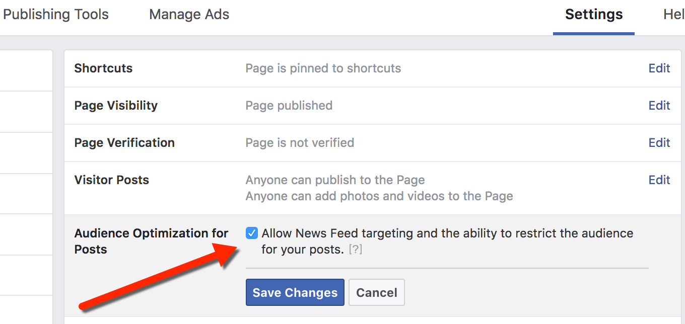 Audience Optimization for Posts Enabled