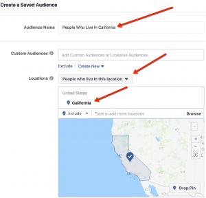 Facebook Location Targeting - California Audience - Living In