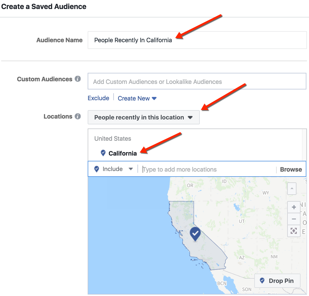 Facebook Location Targeting - People Recently In California Example