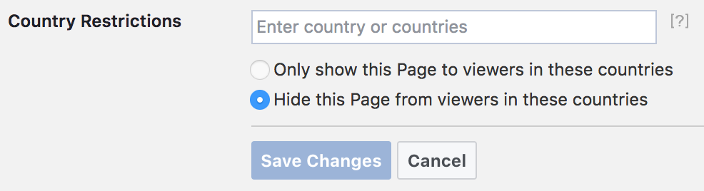 Facebook Audience Restrictions Country Selection